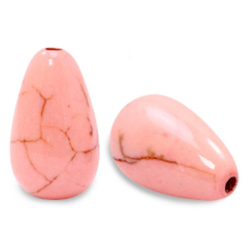 2 perles en céramique en forme de goutte 16x10mm couleur rose pêche