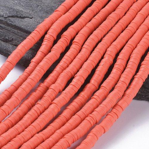 400 perles heishi en pâte polymère 6x1mm (x1 chapelet) couleur corail clair