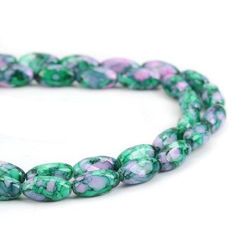 vert ou bleu et sable d/'or 4 Perles Twist 26mm x 16mm Verre Lampwork blanc