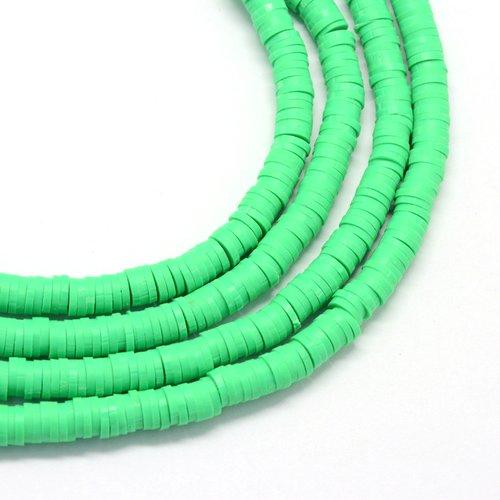 400 perles heishi en pâte polymère 6x1mm (x1 chapelet) couleur vert printemps