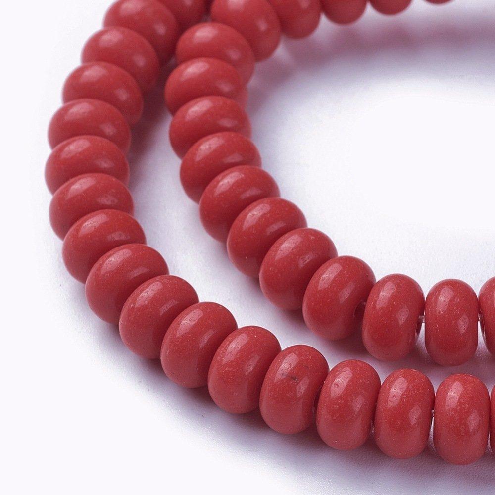 50 Perles de verre opaque forme rondelle 8x4mm  couleur rouge