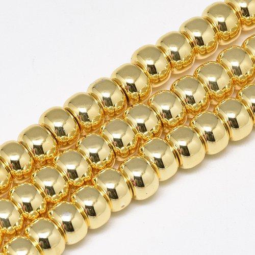 Perles heishi en hématite (non magnétique) forme rondelle 6x4mm dorée (x10)