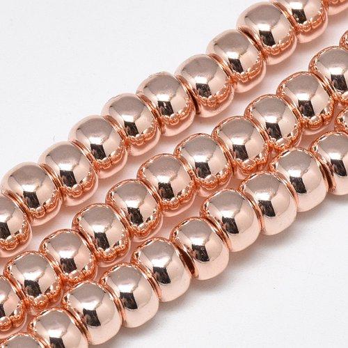 Perles heishi en hématite (non magnétique) forme rondelle 6x4mm or rose (x10)