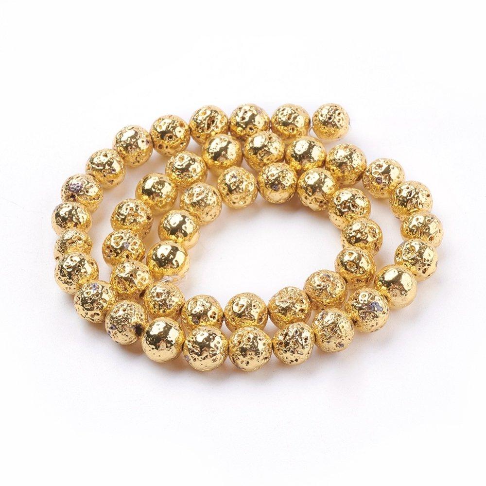5 Perles en pierre de lave naturelle,rondes irrégulières 8mm dorées
