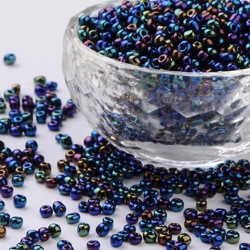 Perles de rocaille  en verre 4mm 20g irisé bleu clair
