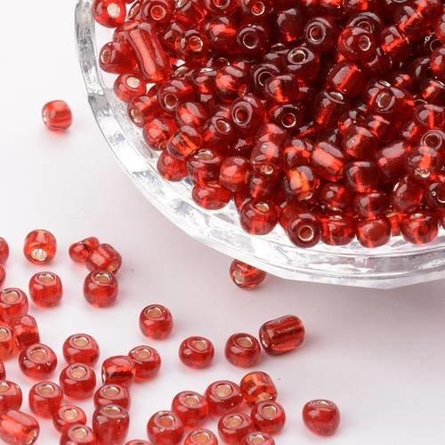 Perles de Rocailles en verre Transparent 4mm Rouge 20g 6//0