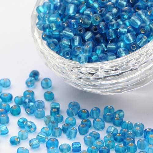 6//0 Perles de Rocailles en verre Trou Argenté 4mm Vert Foncé 20g