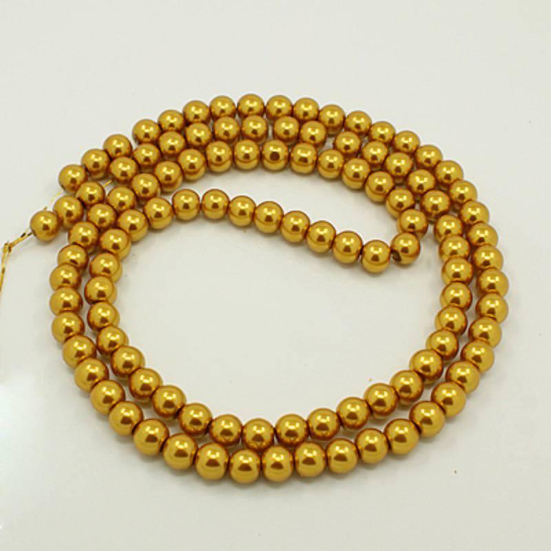 10 Perles rondes ,nacrées ,10 mm, or (x10)