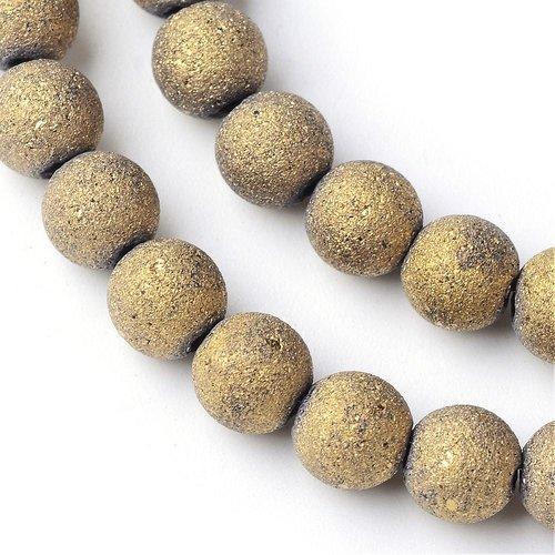 Perles en verre doré mat, ronde ,diamètre 8mm (x10)