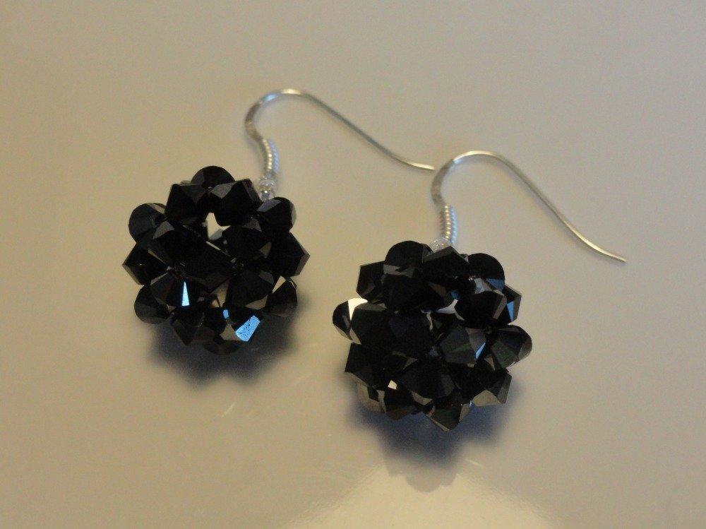 Boucles d'oreilles noires en perles de cristal Swarovski