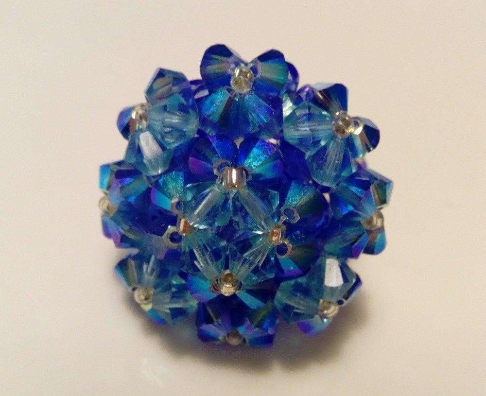 Bague en perles de cristal swarovski bleu océan