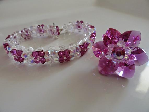 Parure rose fuchsia : Bague et bracelet en perles de cristal Swarovski