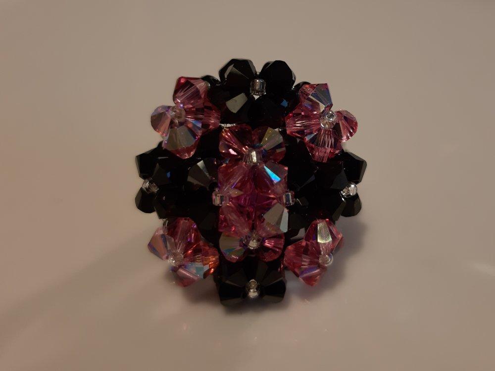 Bague Copine Rose Noire en perles de cristal Swarovski