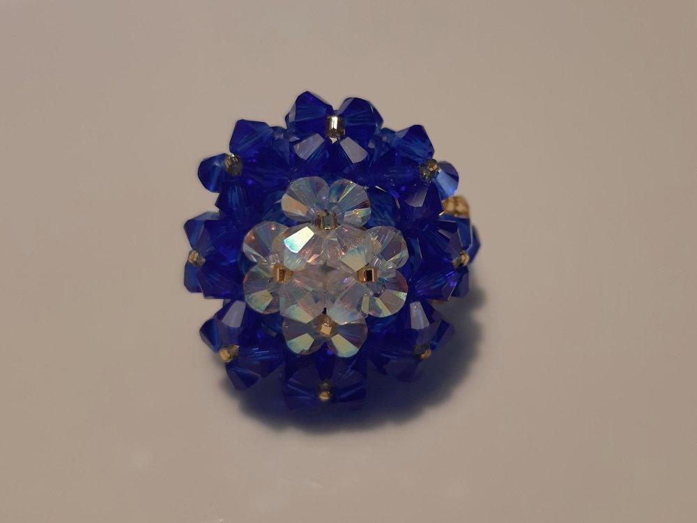 Bague Copine bleue roi et blanche diamant en perles de cristal Swarovski