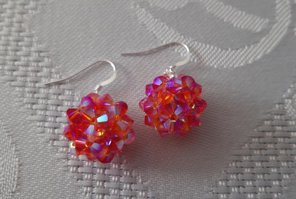 Boucles d'oreilles multicolores  Fireopal en perles de cristal Swarovski