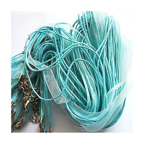 Tour de cou collier organza bleu clair 4 cordons 45cm