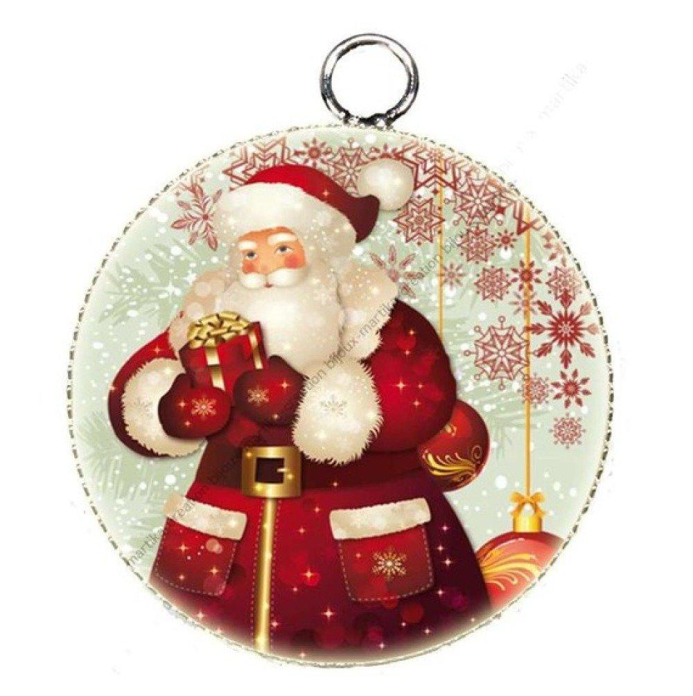 1 pendentif cabochon résine théme Noel métal 25 mm N°41