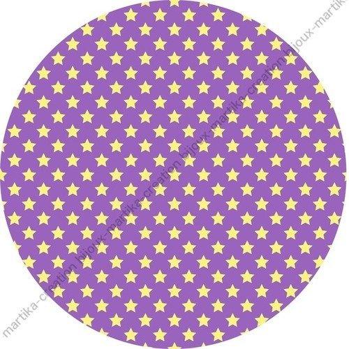 Cabochon résine à collé  époxy 25 mm étoile fond violet n°24