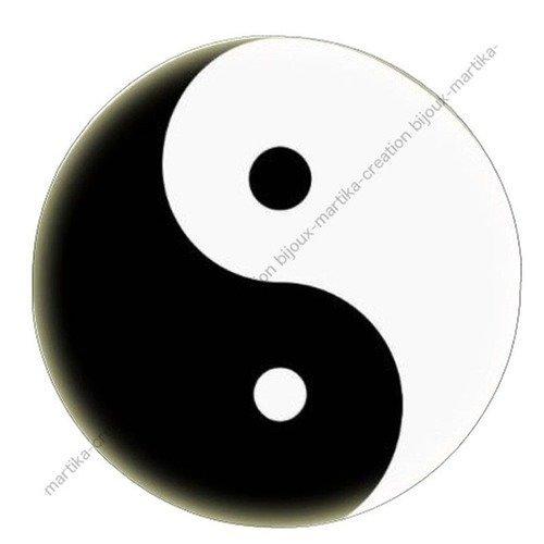 A coller cabochon epoxy 25 mm  yin yang n°3
