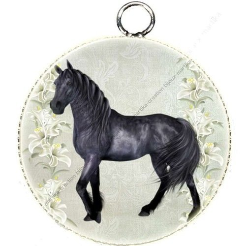 1 pendentif charms cabochon metal epoxy collection cheval 25 mm ch1