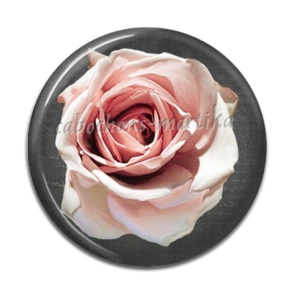 cabochon fleur résine 25 mm