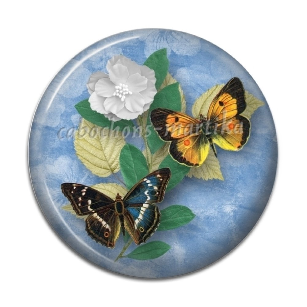 cabochon papillon, résine 20 mm