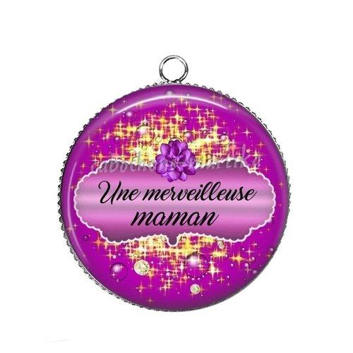 Pendentif une merveilleuse maman, cabochon 25 mmm résine