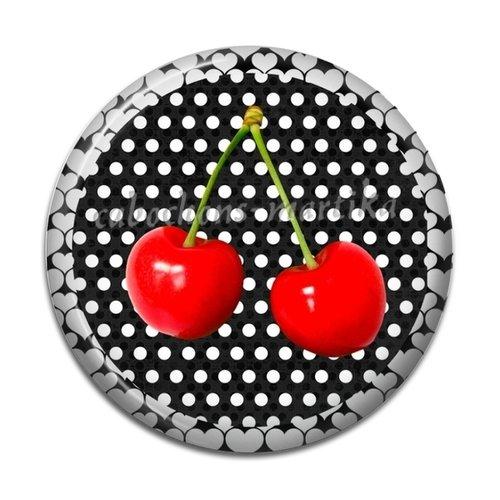 Cabochon cerise, resine 25 mm