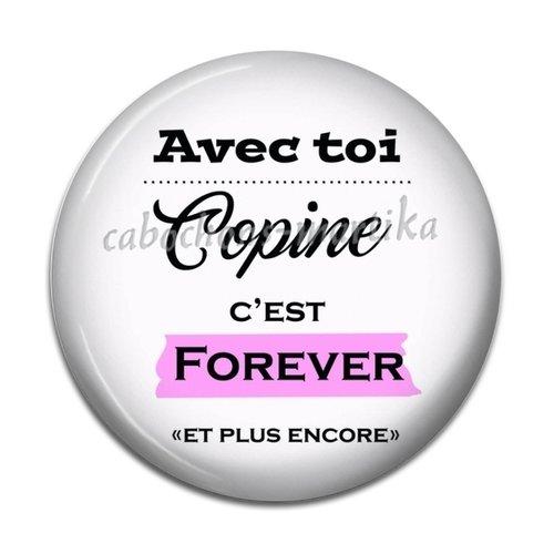Cabochon copine slogan, resine 25 mm