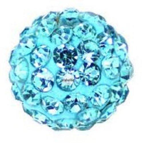 Perles boules disco  bleu turquoise avec strass