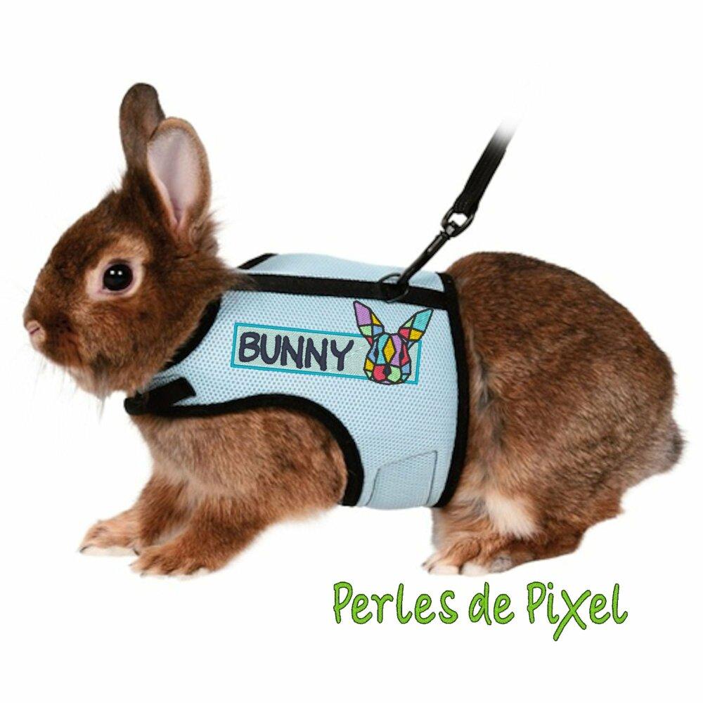 Paire de Bandeaux / patch amovibles pour personnaliser le harnaisd de votre lapin