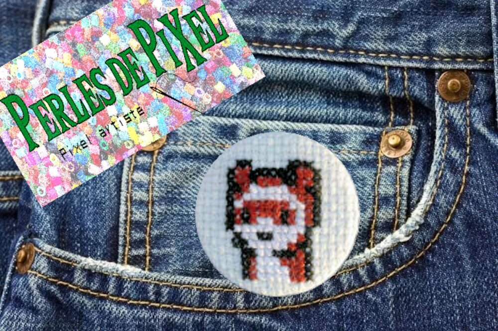 Badge, button, pin brodé mainperles de pixel