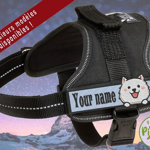 Bandeau patch pour customiser le harnais de son animal ou ses vêtements sur le thème samoyède berger blanc