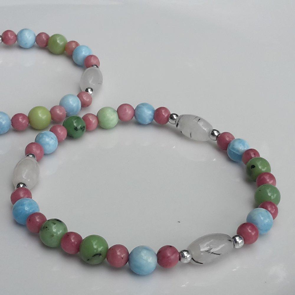 Bracelet élastique «Bonheur et insouciance» Larimar, Chrysoprase et Rhodonite Tailles XXS, XS, S, M