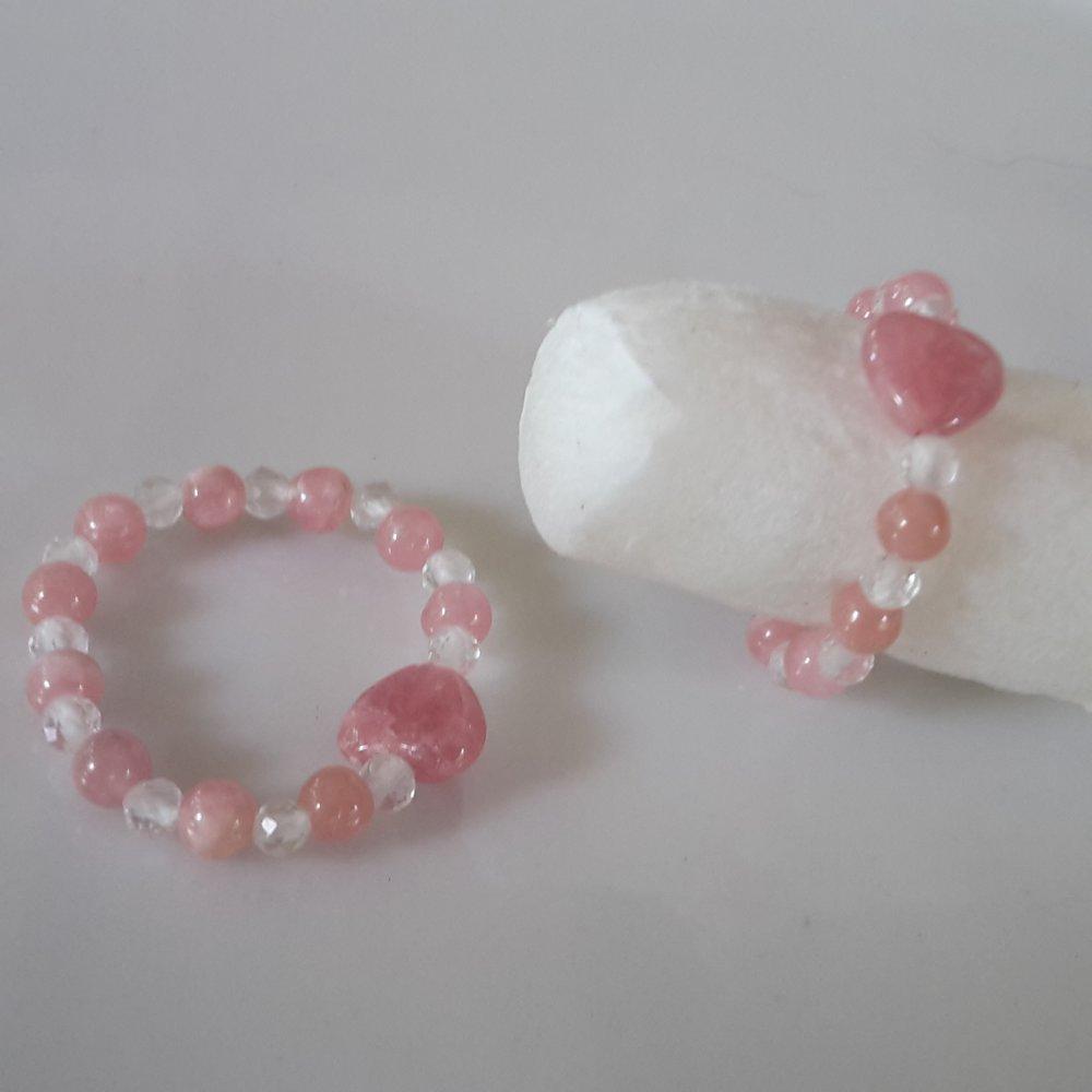 Bague élastique en pierres « Amour Passion» Rhodochrosite & Cristal de Roche Tailles S, M, L