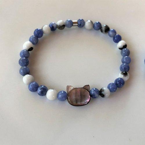 Bracelet «force et endurance» jaspe zèbre et sodalite pour enfant sportif fille garçon, tailles mini et xxs