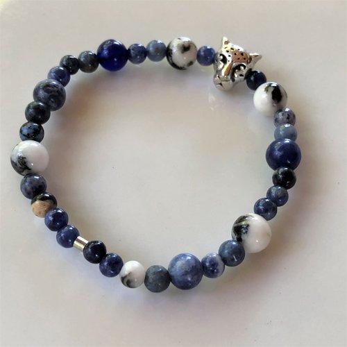 Bracelet «force et endurance» jaspe zèbre et sodalite pour enfant sportif fille garçon, taille xs