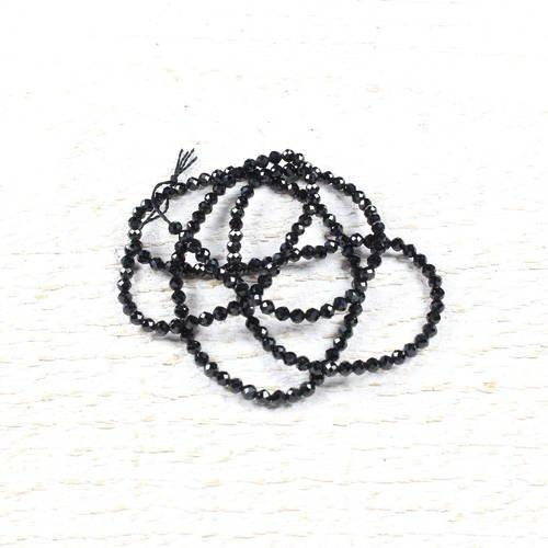 2pc Perles de Pierre Spinelle Noir Gouttes facettées 8-10mm