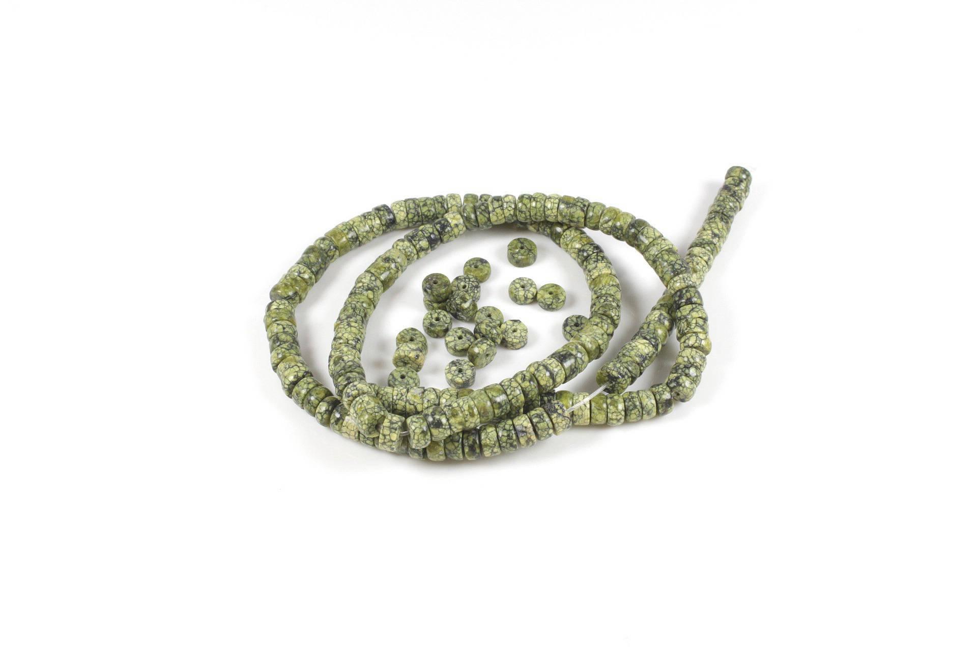 40 perles rondelle en jaspe green lace naturelle +/- 4 x 2mm        LBP00455