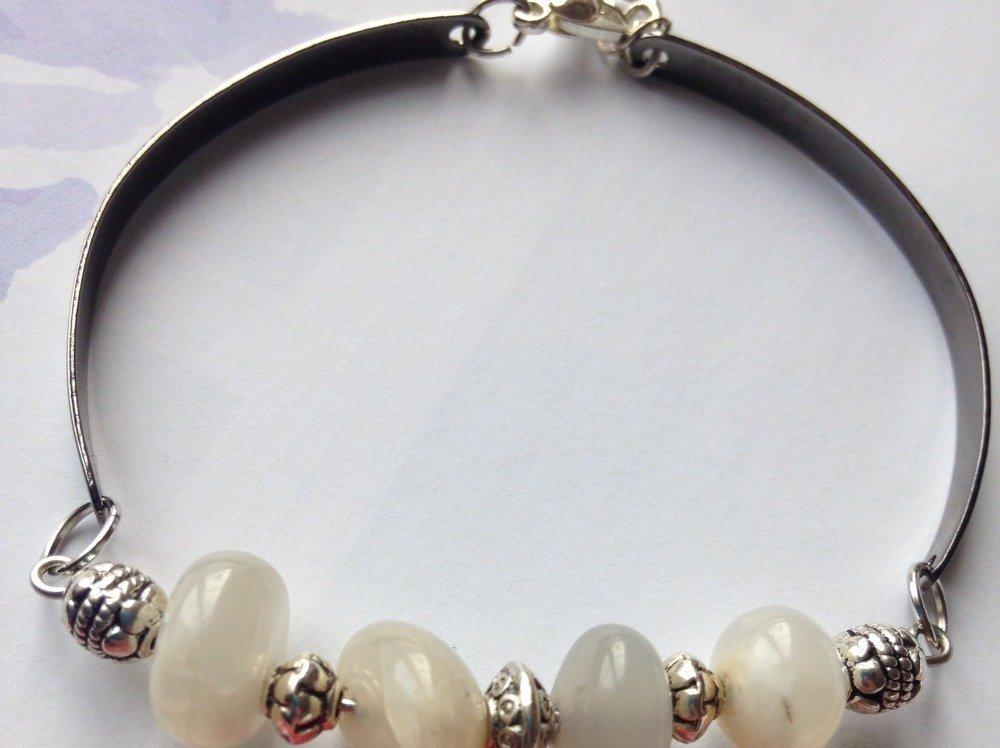 Bracelet en labradorite grise