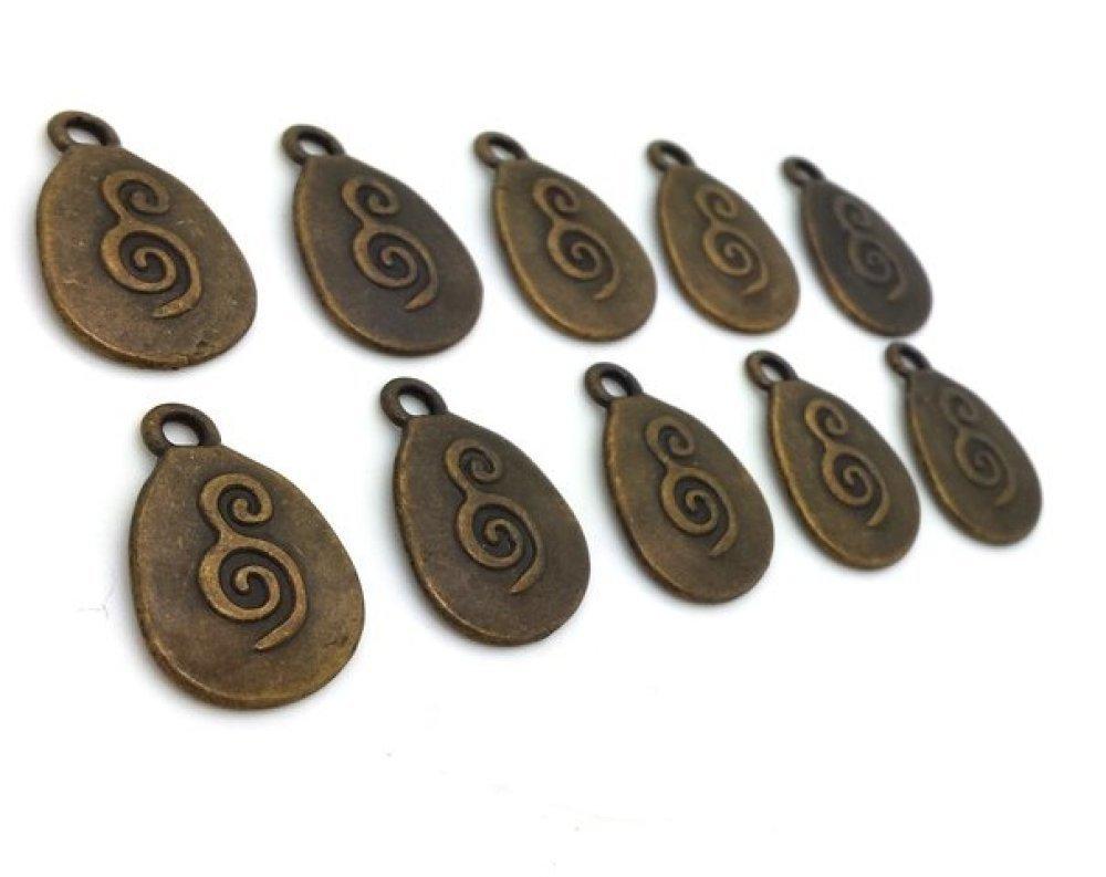 "10 breloques ""Om"" tibétain métal bronze sans nickel style ethnique (bre627)"