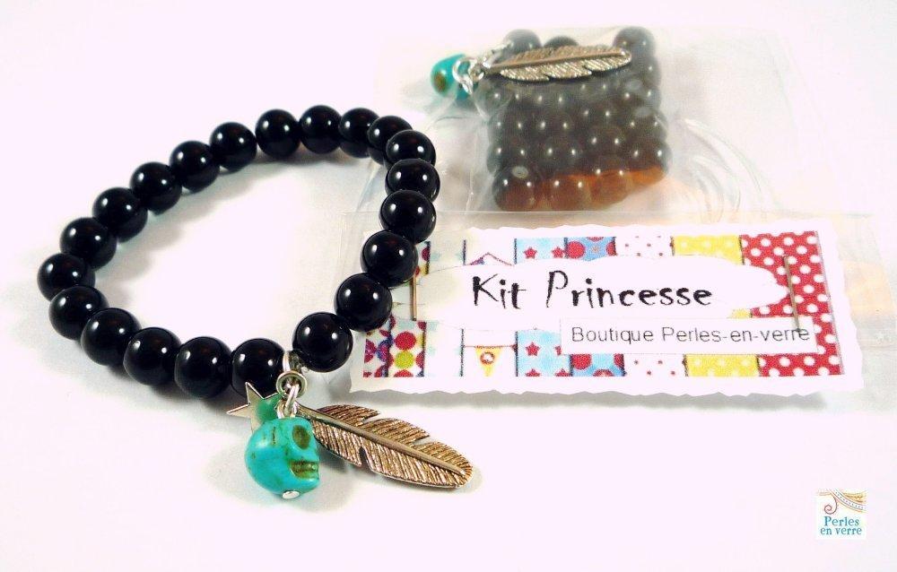 DIY: 1Kit bracelet  perles noires plume métal argenté skull turquoise  (kit64)