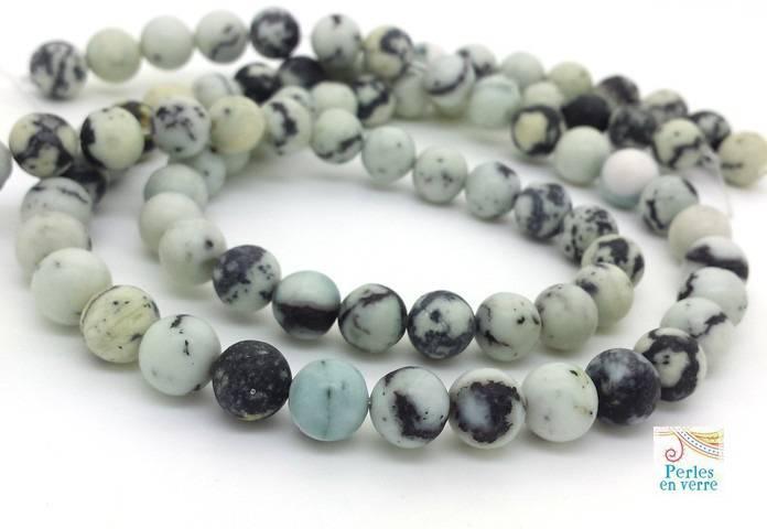 10 perles rondes Howlite gris bleu 8mm bijoux boho (ph233)