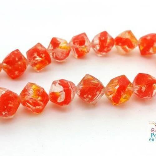 Orange nuance blanc 50 Perles de verre connecteur