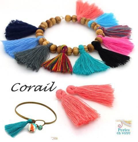 10 pompons corail / saumon coton 28mm (div63) pour bijoux ethniques boho gipsy