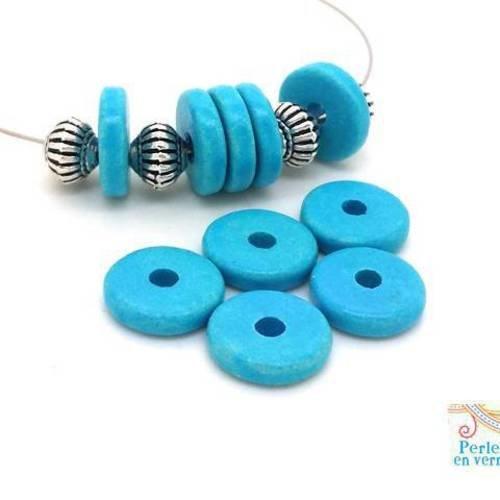 Bleu turquoise: 10 perles rondelles céramique mate, 2.5x12mm, grèce (pc177)