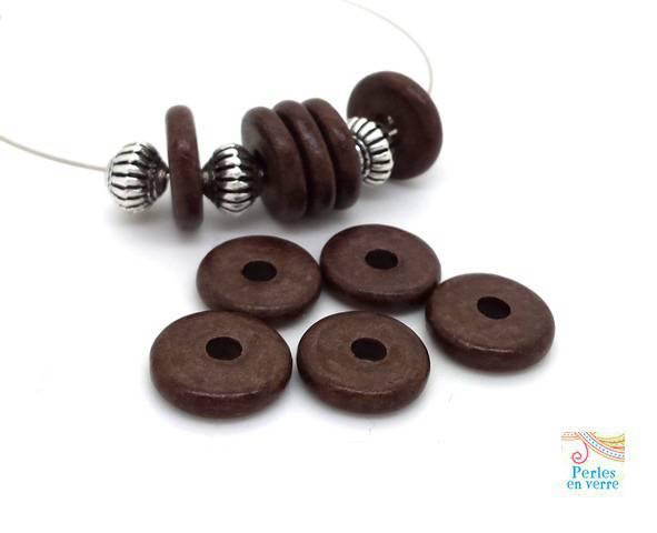 Marron chocolat: 10 perles rondelles céramique mate, 2.5x12mm, Grèce (pc182)