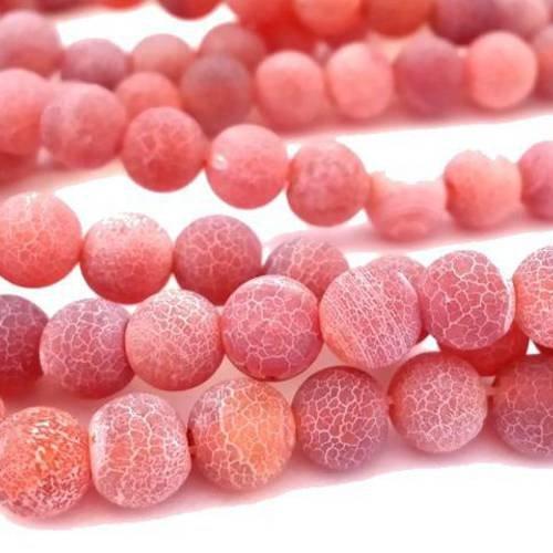 Agate x10 perles,  rouge indien, 6mm, effet givré craquelé (pg102)