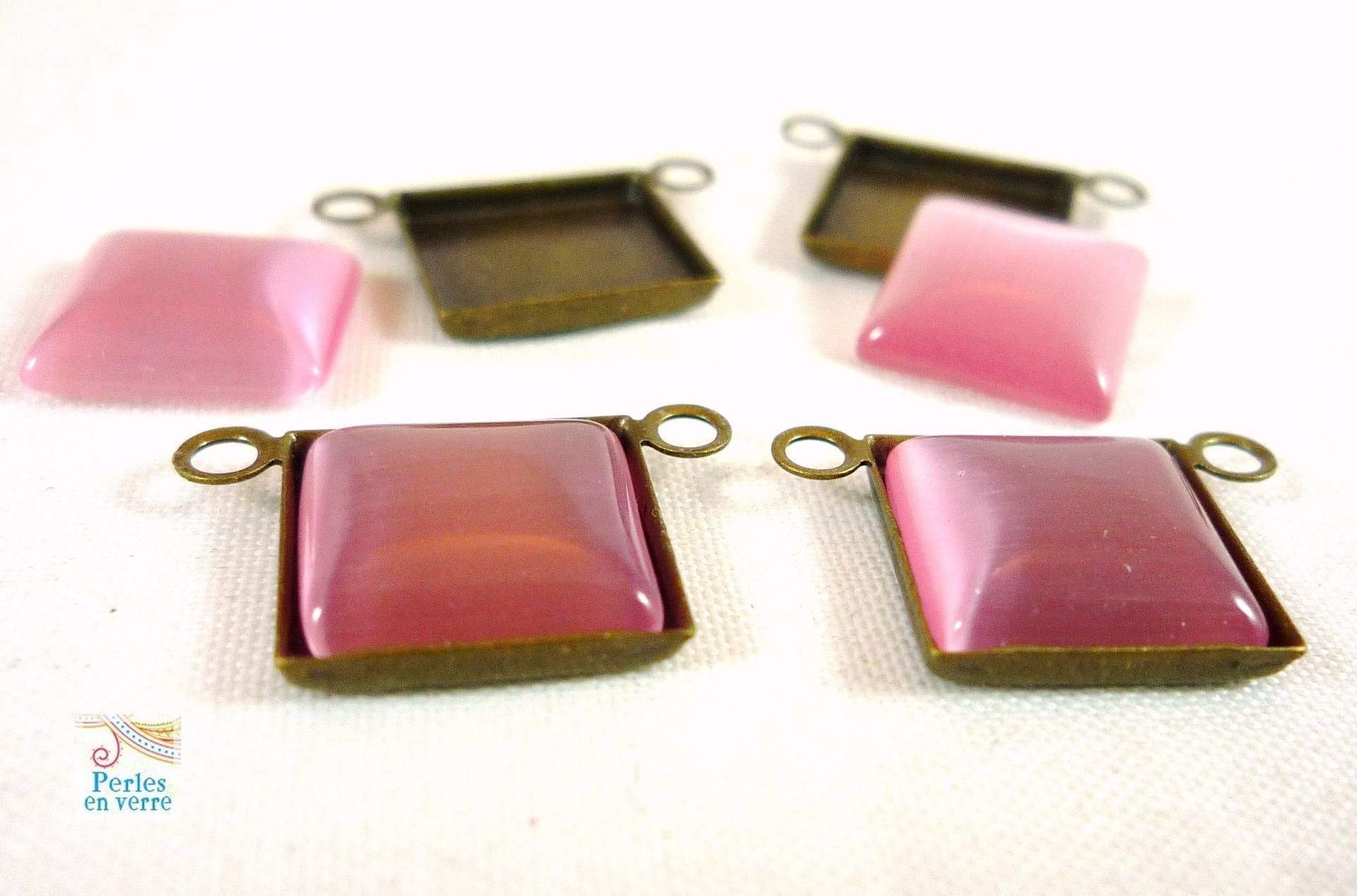 2  breloques bronze carrées avec 2 cabochons oeil de chat rose 10mm, (bre196)