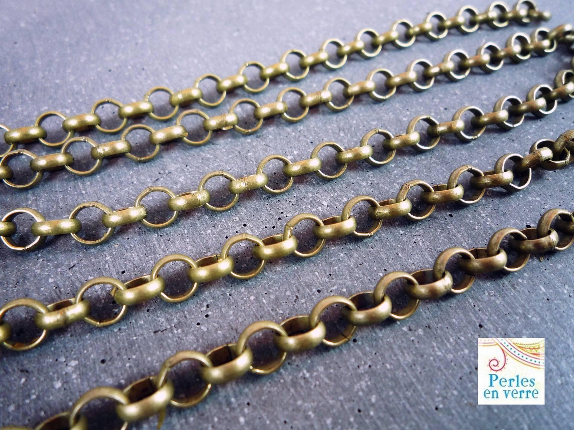 1 m chaîne bronze gros maillons ronds 7mm (ch23)